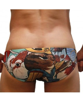 Sexy Swimming Briefs (Ukiyo-e Cat-06)